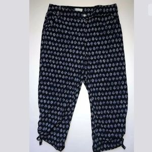 Chico's Zenergy Navy Print Capri Pants Size Small